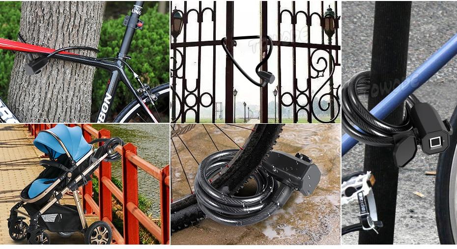Towode Fingerprint Bicycle Lock Stainless Bicycle Lock Steel Anti Theft Smart Lock USB Waterproof  MTB Door Bike Accessories