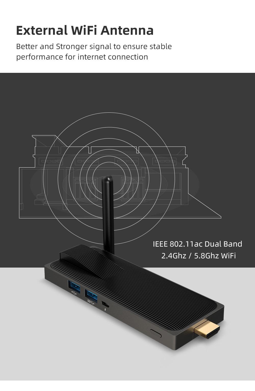 Intel Celeron J4125 Quad Core 8GB 128GB J4105  J3455 4K Fanless Mini PC Windows 10 Pro MeLE PC Stick Mini Computer HDMI WiFi LAN